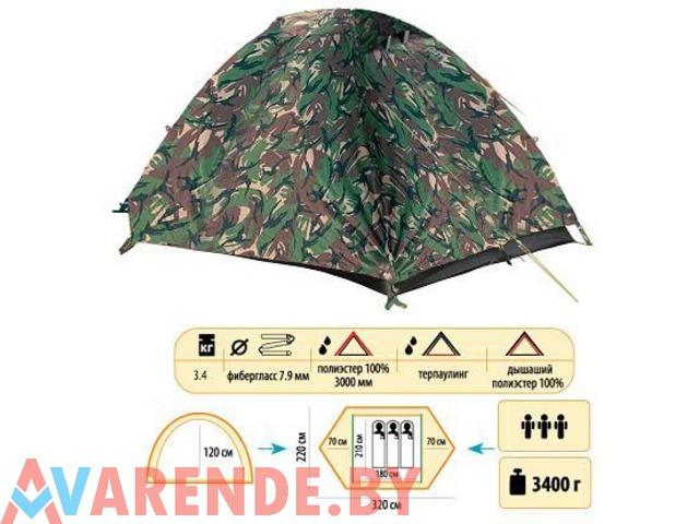 Прокат трехместной двухслойной туристической палатки Sol Hunter - 1/1