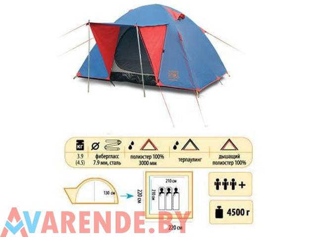 Аренда трехместной двухслойной туристической палатки Sol Wonder 3 - 1/1